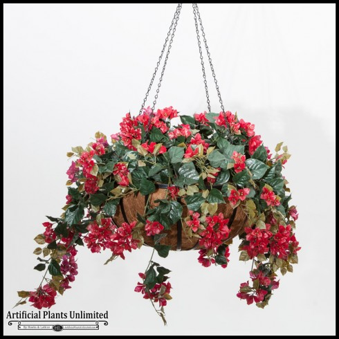 "22"" Hanging Basket with Outdoor Artificial Bougainvillea"