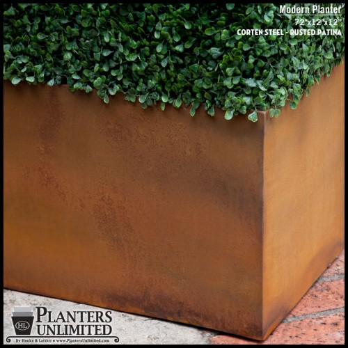 Raw Corten Steel Planter with Artificial Boxwood Hedge