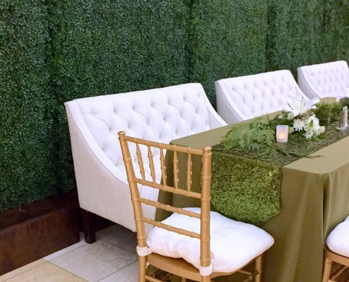 The perfect background for special events, Faux Boxwood Hedges in Corten Steel Planters set the stage for a beautiful time!