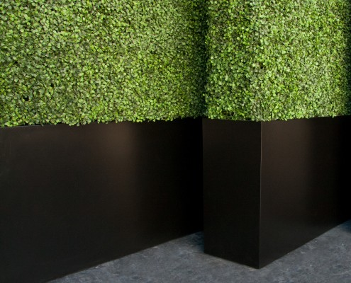 Faux Hedges with Fiberglass Planter on Casters