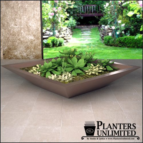 Square modern low bowl planter