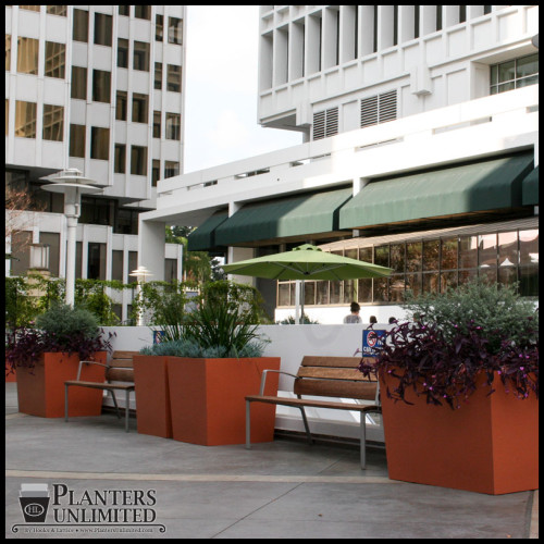 Commercial Fiberglass Planters in Pasadena - Tapered Square Modern Design